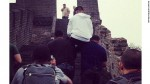 Minions carry Justin Bieber up Great Wall of China