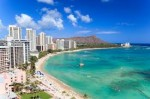Waikiki, a famous Hawaiian beach, USA